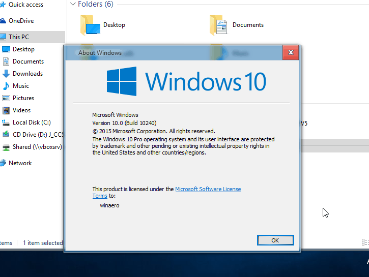 Windows 10 Aero