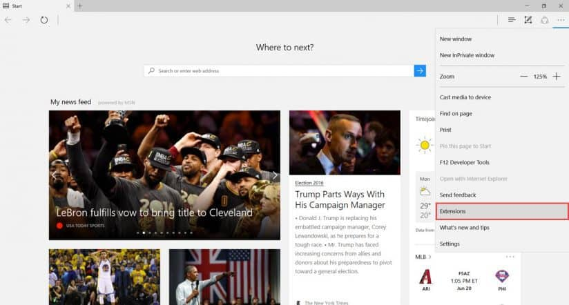 install extensions in Edge browser