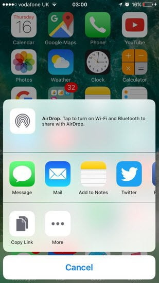 share apps via 3D Touch in iOS 10