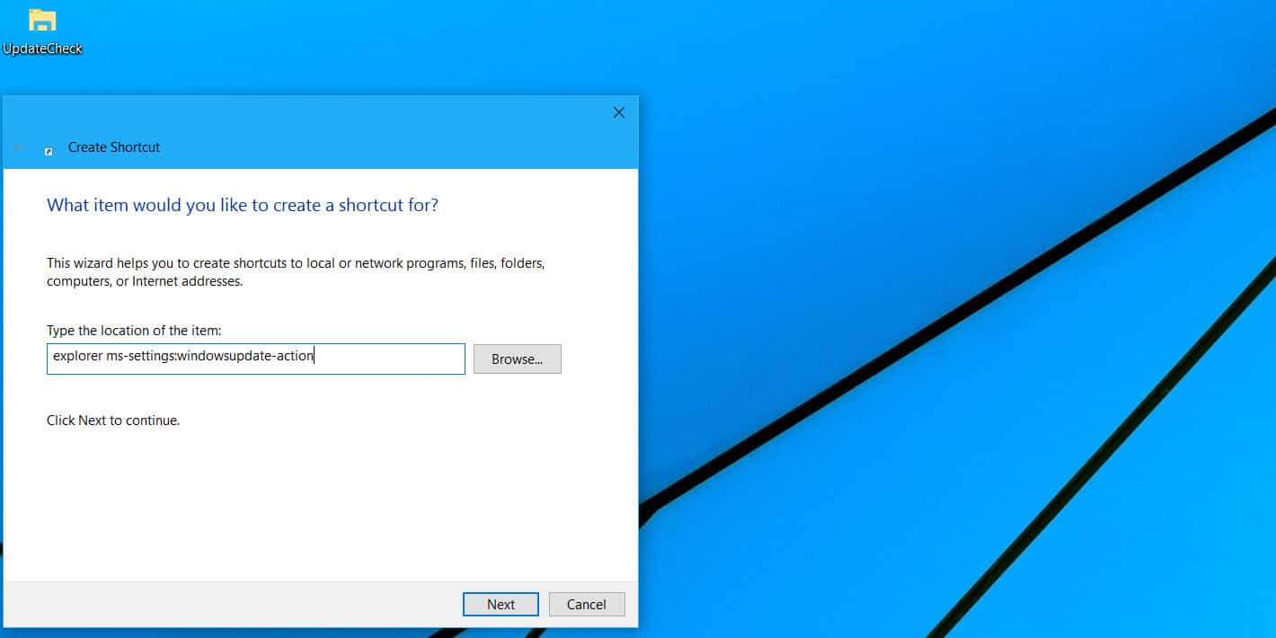 Guide] Create a check for updates shortcut in Windows 10