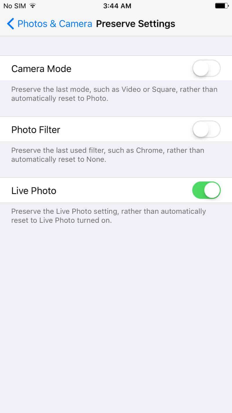 Preserve Camera app's settings in iOS