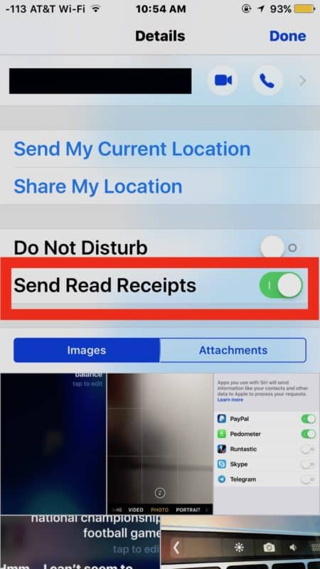 Enable Read Receipts for specific contacts in iOS Messages 2