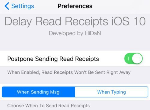 Delay Read Receipts tweak