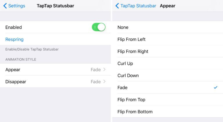 TapTap StatusBar tweak