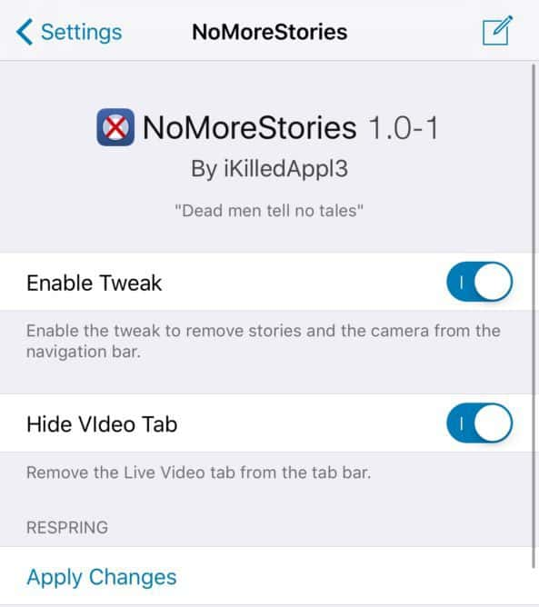 disable Stories in Facebook for iPhone