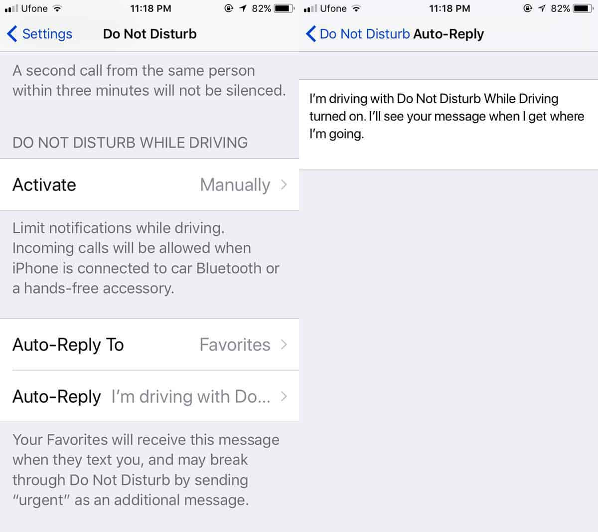 set a custom Do Not Disturb While Driving auto reply in iOS 11