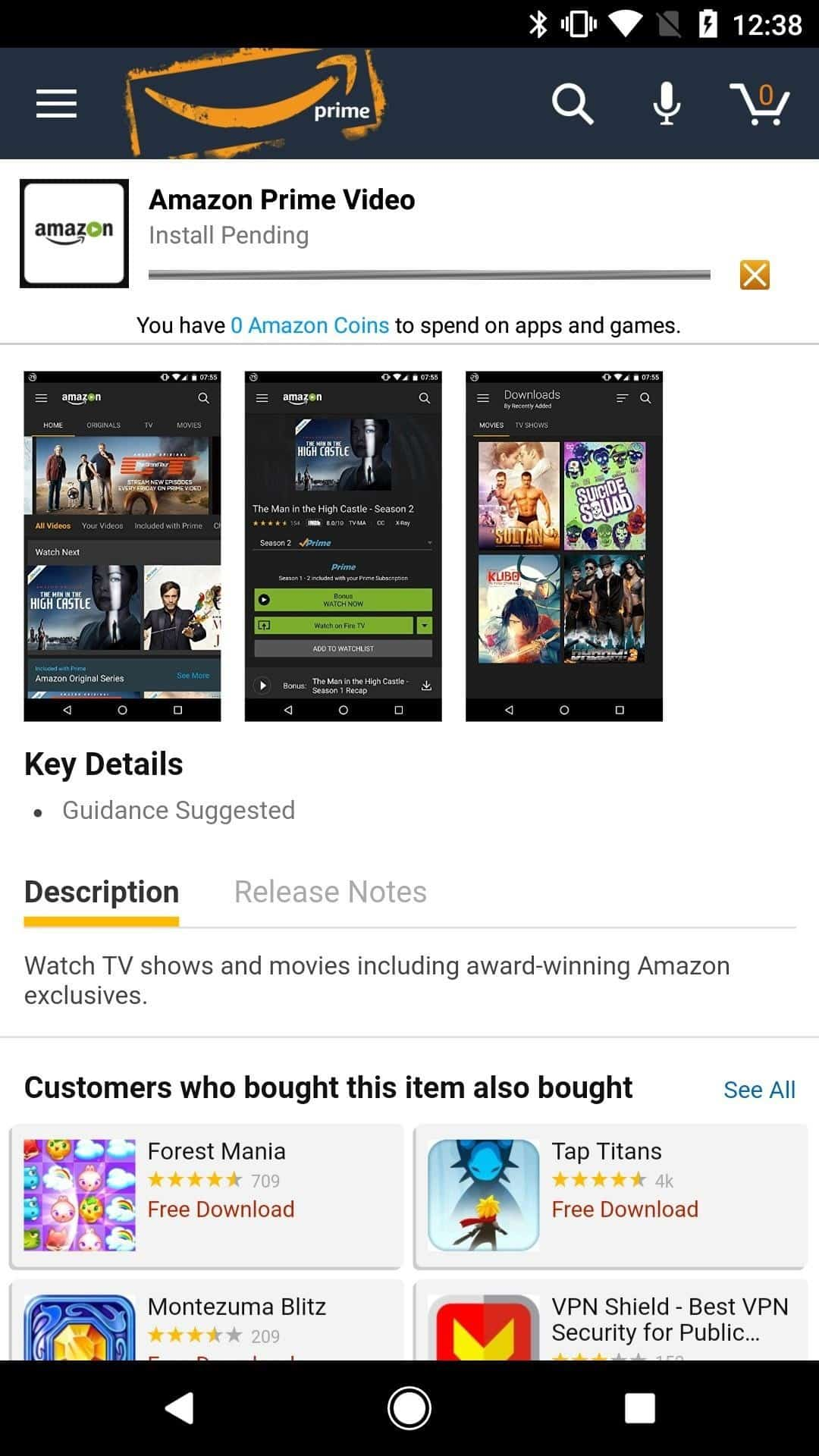 May approve android app to watch amazon prime movies Sunil,the