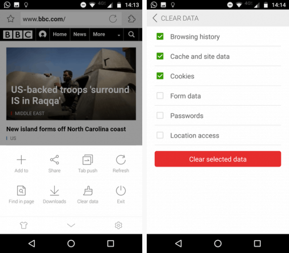 Delete your mobile browsing history on Android