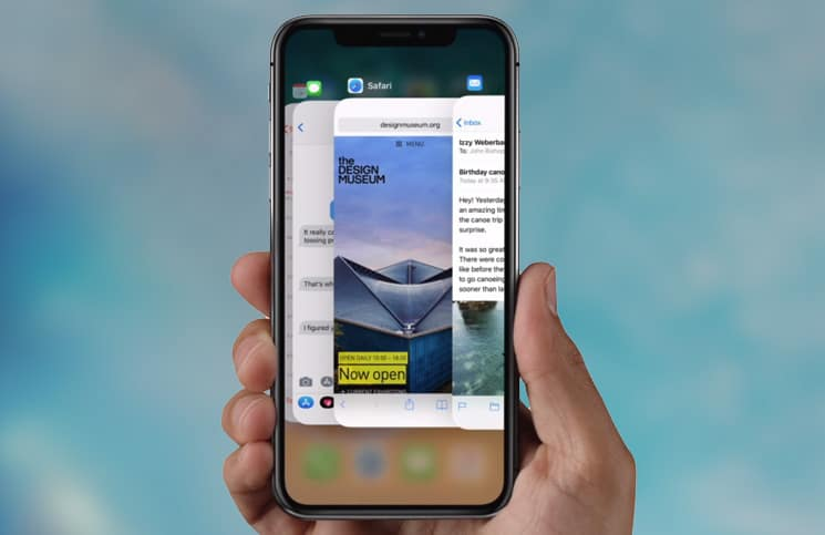 open the app switcher on the iPhone X