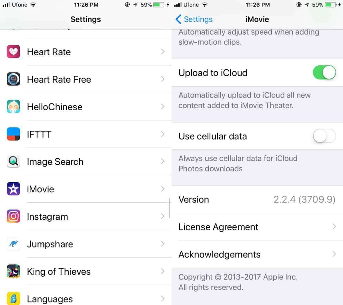 Turn off iCloud in iOS 11
