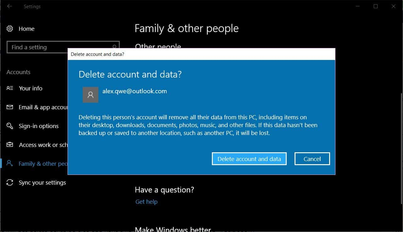 How To Delete a User in Windows 10