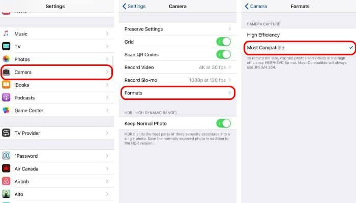 make your iPhone use JPEG and MP4 instead of HEIF and HEVC