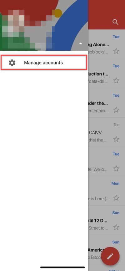 Add a third-party email account to Gmail for iOS