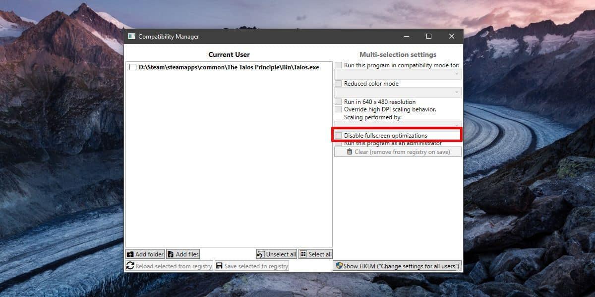 disable fullscreen optimization for games on Windows 10
