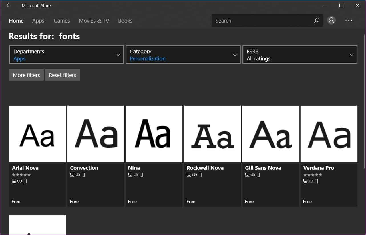 Install fonts from Microsoft Store in Windows 10