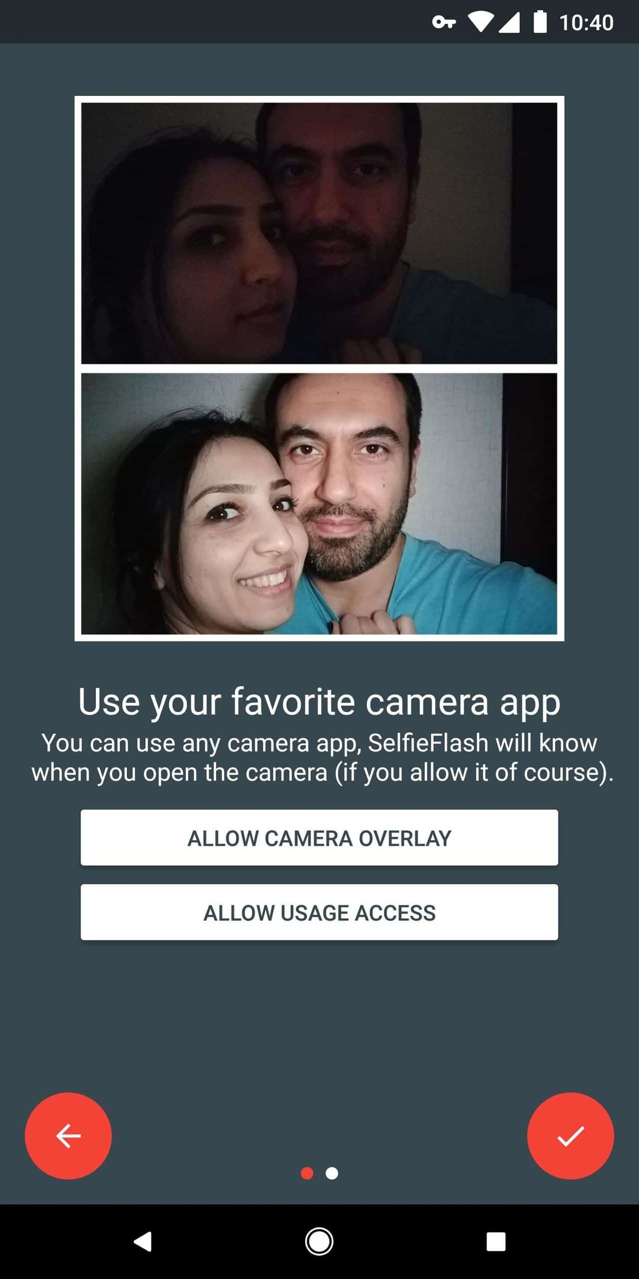 get a front-facing flash for selfies on Android